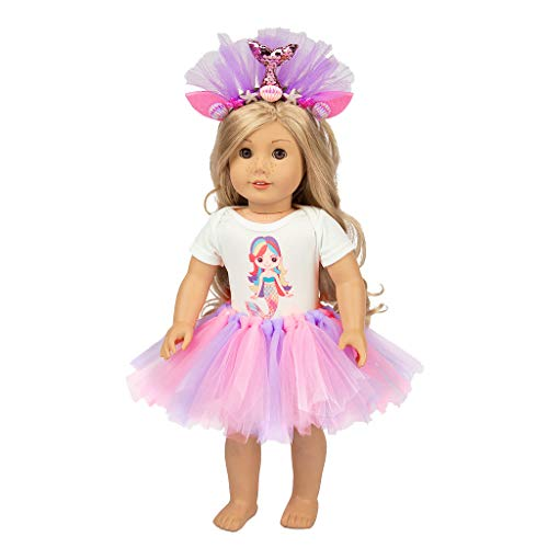 (Alimao Doll Clothes for 18 Inch Dolls Tutu Skirt Clothes Coat Set,Fashion Doll Perfect for Kids Holiday and Birthday Gift)