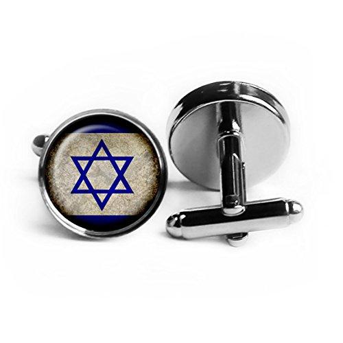 Israel Israeli Flag Silver Cufflinks