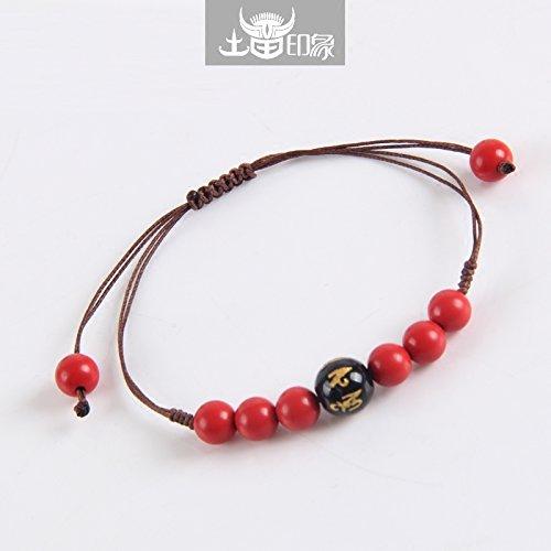 - Custom original hand-woven diamond knot bracelet female vermilion slipknot fine hand rope evil men black onyx jewelry