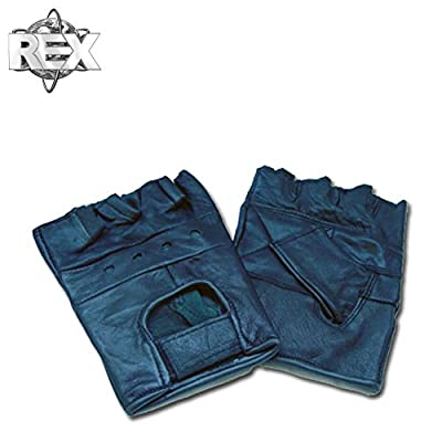 Leather Men's Basic Fingerless Gloves Rex Weight Lifting Gym Workout Exercise Training Motorcycle Bicycle Riding Driving Small to 3XL