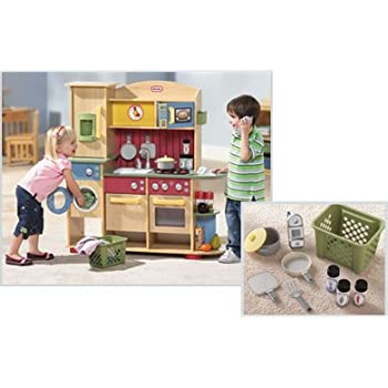 Amazon.com: Little Tikes Deluxe Wooden Kitchen and Laundry Center ...