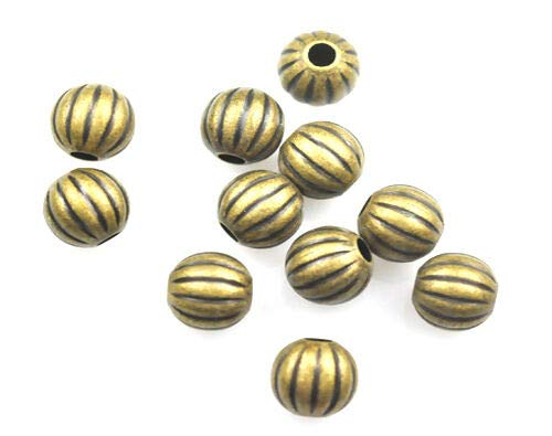 Jewelry Making Beads 25 Antique Gold Plated Brass Melon Spacer Beads 8MM - Gold Plated Melon Beads