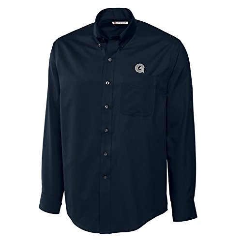Cutter & Buck NCAA Georgetown Hoyas Men's Long Sleeve Epic Easy Care Fine Twill Shirt, Large, Navy Blue