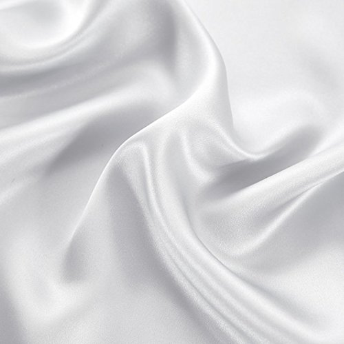 FabricMCC Silk Pillowcase, Hypoallergenic Queen Size Pillow Case with Zipper, Satin Pillowcases for Curly Hair & Dry Skin, Set of 2 (white)