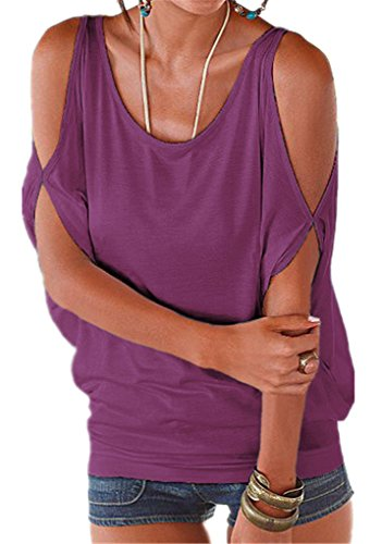 Yknktstc Womens Cold Shoulder Tops Short Sleeve T Shirt Pullover Casual Dolman Blouse X-Large Deep ()