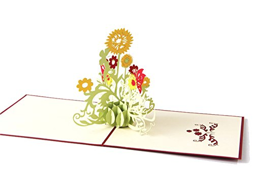Genluna 3D Pop Up Thanks Giving Day Sunflower Greeting Cards Sunflower