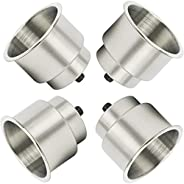 NovelBee 4pcs Stainless Steel Cup Drink Holder with Drain Mounting Gasket and Internal pad for Marine Boat Rv