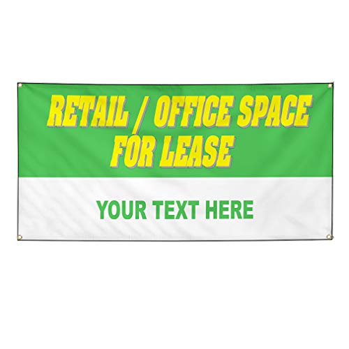 Custom Industrial Vinyl Banner Multiple Sizes Retail Office Space for Lease Personalized Text Profession Outdoor Weatherproof Yard Signs Green 4 Grommets 24x60Inches from Fastasticdeals
