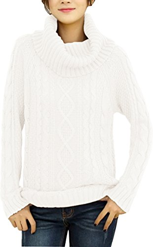 esign Turtle Cowl Neck Ribbed Cable Knit Long Sweater Jumper (XXL, White) ()