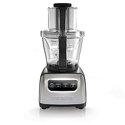 Farberware FP3200FBS 11 Cup Digital Stainless Steel Food Blender Chopper Processor, Silver
