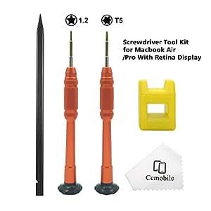 Cemobile Destornillador Macbook Torx T5 5 puntos estrella 1,2mm Pentalobe destornillador Kit de herramientas de reparación para Macbook Air/Pro con ...