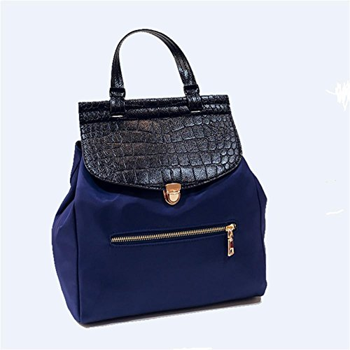 LINGE Las señoras bolso casual Oxford tela impermeable mochila , black Blue