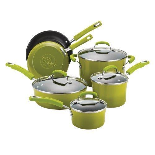 Rachael Ray Porcelain/Hard Enamel II Nonstick 10-Piece Cookware Set, Green Gradient by Rachael Ray