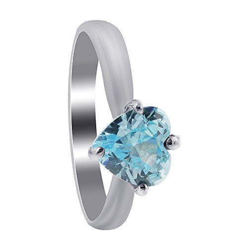 Gem Avenue 925 Sterling Silver 4 Prong Set Aquamarine Color Cubic Zirconia Solitaire Heart Ring