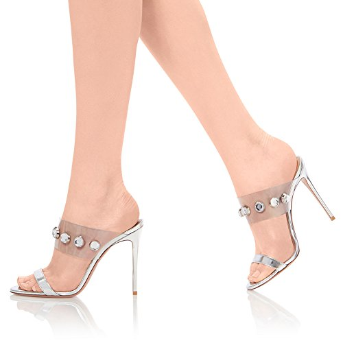 Soirée Mode 3999 Fête Sandales Sexy PVC 40 Taille Talon KJJDE De De Plateforme Club Grande Haut Femme Strass TLJ Silver Transgenre Mariage YqPvcT
