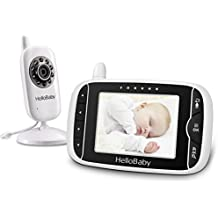 Hello Baby HB32 Wireless Digital Video Baby Monitor with Recharger Battery Monitor & Night Vision Mode & Temperature Monitoring & 2 Way Talkback System, White (3.2 Inch, White/Black)