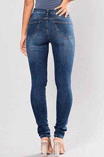 Simgahuva Leurs Pantalon Avais Taille Brod en Crayon Haute Blue Jeans Extensible rrqxwRO