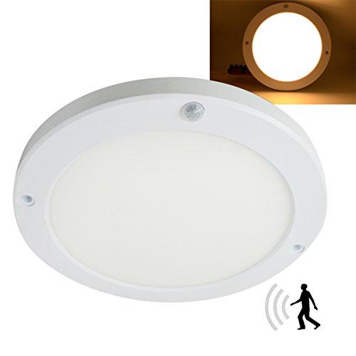 LED Panel Light PIR Motion Sensor Body Detector Ceiling Surface Mounted Lights 15W 3000K Φ8.66 Inch Round Flush Mount Light For Corridor Stairs Depot Bathroom Toilet Children Room (Warm White)