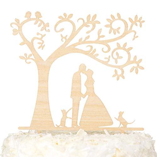 LOVENJOY - Gift Box - Rustic Wedding Cake toppers with Two Cats