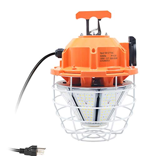 100W High Bay Outdoor Temporary LED Work Light 12500Lm 5000K Daylight White with Stainless Steel Guard and Hook Portable Hanging Lighting for Construction Job Site