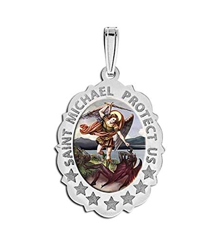 PicturesOnGold.com Saint Michael Scalloped OVAL Religious Medal Color - 2/3 X 3/4 Inch Size of Nickel, Sterling Silver