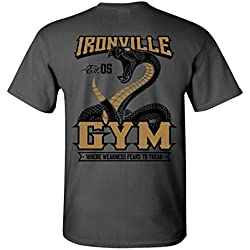 Ironville Gym Snake - Where Weakness Fears to Tread Weightlifting T-Shirt (Art ON Back - Charcoal Gray w Gold, XX-Large)