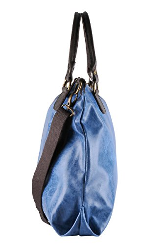 Pelle 100 Blu Donna Made Italy in in Borsa Stile da Vera Jeans BORDERLINE LISA Vintage z1dqxnz