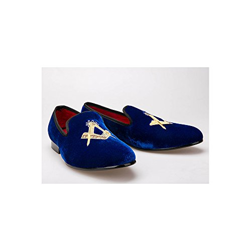 OCHENTA Boda de la manera mocasines zapatos de fiesta de terciopelo de los hombres - Pisos hombres Azul marina