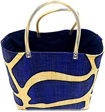 Small 29cmx26cmx16cm Blue Raffia Beach Bag