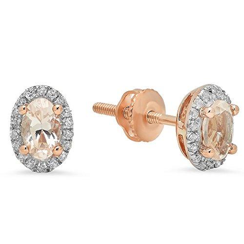 Morganite White Earrings - 10K Rose Gold Oval Cut Morganite & Round Cut White Diamond Ladies Halo Stud Earrings