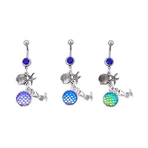 FENICAL 3pcs Stainless Steel Belly Button Rings Women Mermaid Shell Women Screw Navel Bars Nautical Body Piercing Jewelry