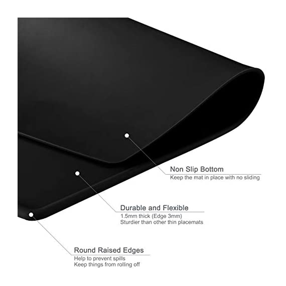 Lazy K Silicone Placemats - Octagon with Raised Edges - Non Slip Waterproof Silicone Mat - Simple Modern Design - Heat-Resistant Kitchen Table Mats - Black (Set of 2) - ECO-FRIENDLY - Hygienic and food-grade. Made with 100% silicone and BPA free SGS certified HIGH QUALITY - Placemats are sturdier than other thin placemats while remaining incredibly flexible. Grips well to most surfaces MODERN DESIGN - Simple and modern design and soft colors that compliment any wood or marble table or countertop. Raised edges help to prevent spills - placemats, kitchen-dining-room-table-linens, kitchen-dining-room - 41oQWZ R1FL. SS570  -