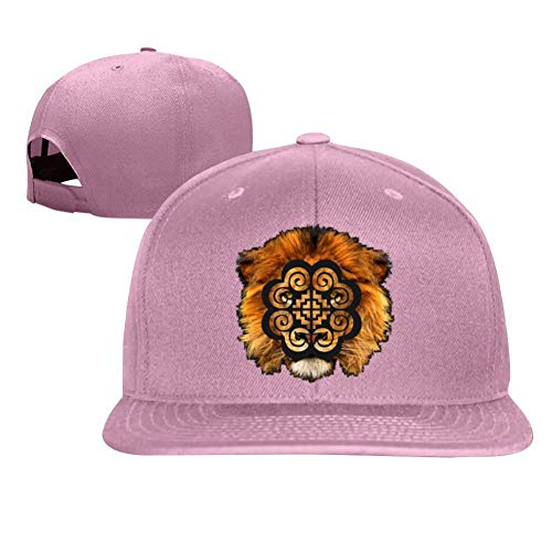 (Hmoob Lion Stylish Flat - Brimmed Baseball Cap with Adjustable Buckle Hip Hop Cap Unisex Pink)