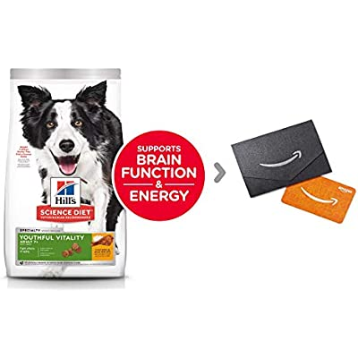 Hill's Science Diet Dry Dog Food, Adult 7+ Chicken & Rice Recipe with Amazon.com $10 Gift Card in a Black and Silver Mini Envelope