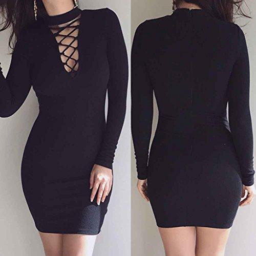 FAPIZI--Women-Dress--Feminine-Fashion-Bandage-Sexy-Long-Sleeve-Dress-Casual-Straight-Dress-M-Black