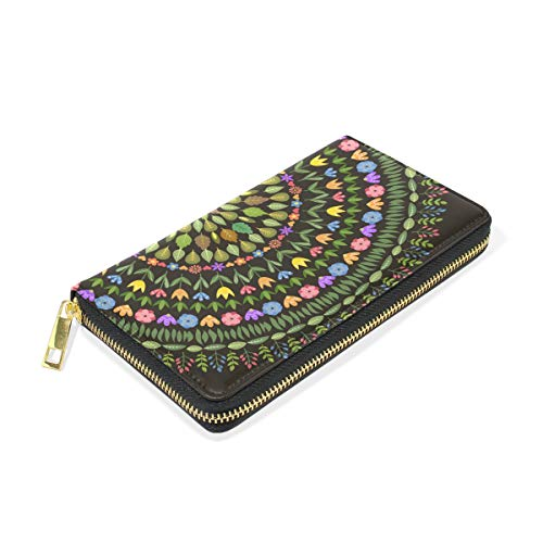 Around And Clutch Floral Round Wallet Handbags Purses Ornamental TIZORAX Womens Zip Organizer 10vwWxT7