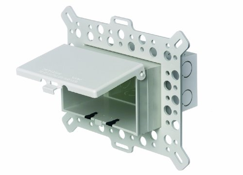 Arlington DBHM1W-1 Low Profile IN BOX Electrical Box with Weatherproof Cover for New Construction Stucco/Textured Surfaces/Rigid Siding, Horizontal, 1-Gang, White