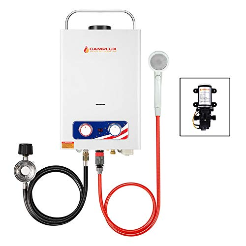 Camplux Pro 6L 1.58 GPM Outdoor Portable Propane Tankless Water Heater With 1.2 GPM Water Pump
