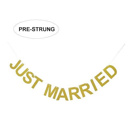 Just Married Gold Glitter Banner | Wedding Banner