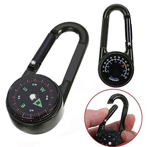 - Viva's Store Multifunctional Mini 3in1 Carabiner Compass Thermometer Key Ring Snap Hook Keychain Outdoor Camping Hiking Survival Tool