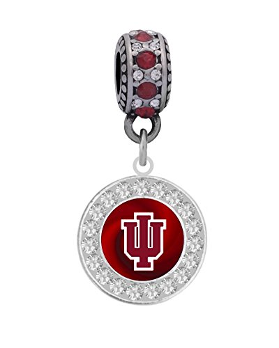 Logo Large Charm (Indiana University Crystal Logo Charm Fits European Style Large Hole Bead Bracelets)