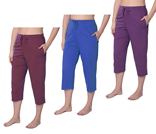 Pack B Women's Capri Jersey Knit Pajama Lounge Pant Available in Plus Size 3 Pack B JLP1_19 4X