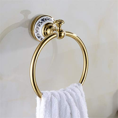 Luxury Towel Ring Bathroom Gold Finished Decorative Hand Towel Holder Bathroom Accessories Ceramic Ring Holder XE3386 ()