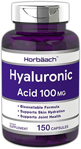 Horbaach Hyaluronic Acid 100 mg 150 Capsules - Supports Joint and Skin Hydration | Non-GMO & Gluten Free Supplement