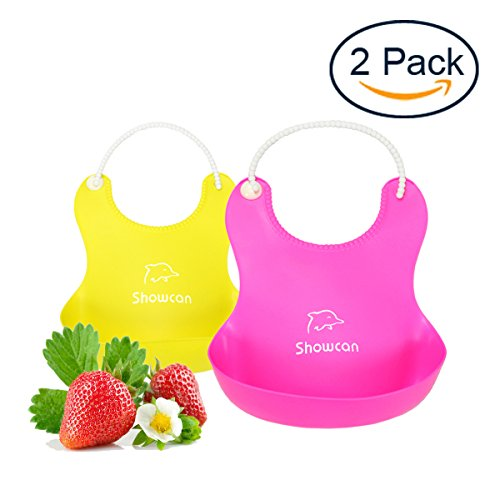 StarRoad Premium Silicone Child Bibs Baby Bib Drool Placemat Waterproof Silicone Comfortable Soft for Boys and Girls Food Catcher Pocket Easily Wipes Clean for Feeding(Pink&Yellow)](Bibs With Food Catcher)