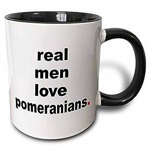 3dRose 123079_4 Real men love Pomeranians Two Tone Mug, 11 oz, Black/White 15