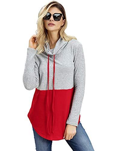 rouge manches à XL taille cordon femme pour de longues broderie avec couleur Zhrui Patchwork Sweat q45x7w7E