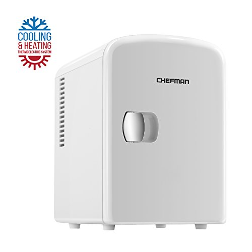 Chefman Portable Compact Personal Fridge Cools & Heats, 4 Liter Capacity Chills Six 12 oz Cans, 100% Freon-Free & Eco Friendly, Includes Plugs for Home Outlet & 12V Car Charger -RJ48-White