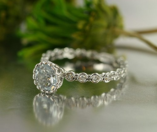 Center of Love-0.25 Carat VS Diamond 7x7 Round Aquamarine Set in 14K White Gold Engagement Ring-Bridal Set Available
