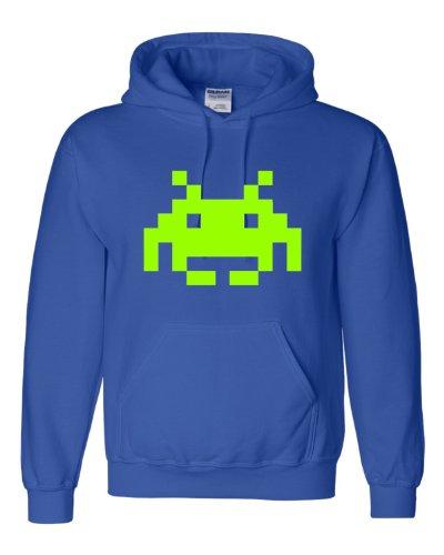 Medium Royal Blue Adult Space Invaders Retro Gaming Sweatshirt Hoodie
